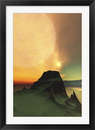 Framed Cosmic landscape on another world Print