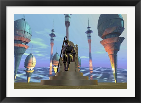 Framed King On His Throne in Futuristic World Print