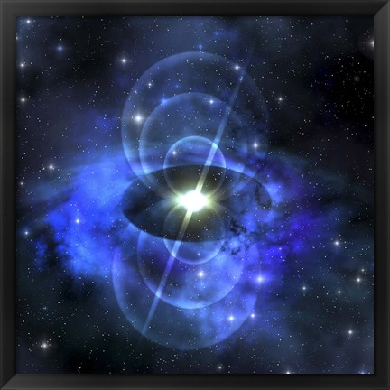Framed brilliant star sends out magnetic waves out into surrounding space Print