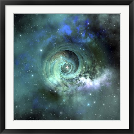 Framed gorgeous nebula in outer space Print