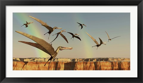 Framed flock of Pterodactyls fly out of a canyon Print