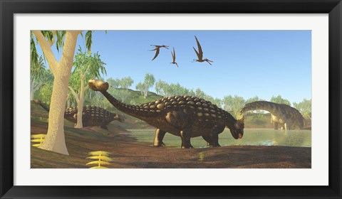 Framed Ankylosaurus dinosaurs drink from a swamp along with an Argentinosaurus Print