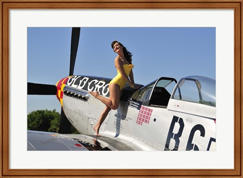 Framed Beautiful 1940's style pin-up girl posing with a P-51 Mustang Print