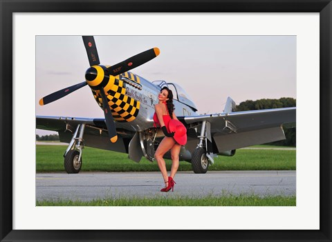 Framed Sexy 1940's style pin-up girl posing with a P-51 Mustang Print