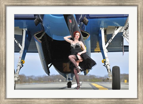 Framed 1940's style pin-up girl in cocktail dress posing in front of a TBM Avenger Print