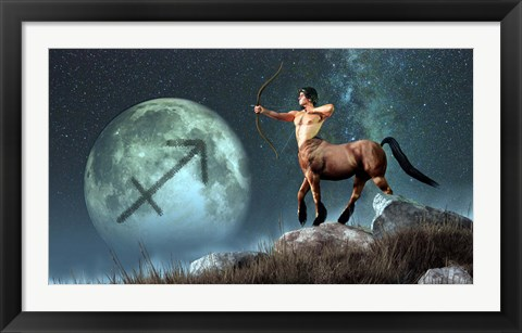 Framed Sagittarius is the ninth astrological sign of the Zodiac Print