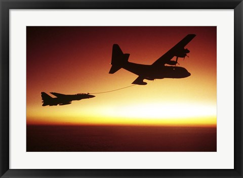 Framed US Navy F-14A Tomcat aerial refueling from a KC-130 Hercules Print