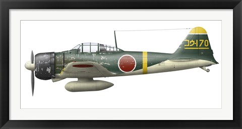 Framed Illustration of a Mitsubishi A6M2 Zero fighter plane Print