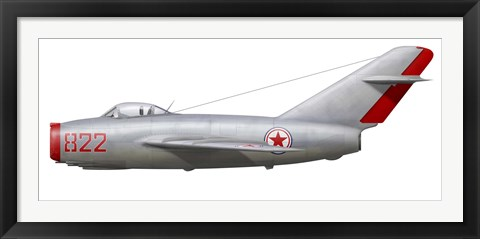 Framed MiG-15bis of the North Korean Air Force Print