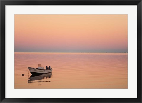Framed Pink sunrise with small boat in the ocean, Ifaty, Tulear, Madagascar Print