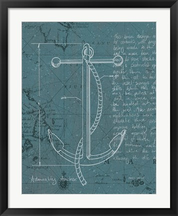 Framed Coastal Blueprint VIII Dark Print