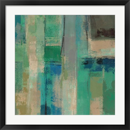 Framed Emerald Fields Square II Print