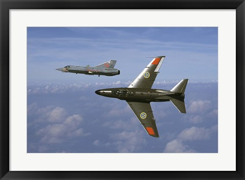 Framed Saab J 32 Lansen and Saab 35 Draken fighters of the Swedish Air Force Historic Flight Print
