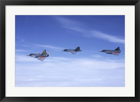 Framed Saab JA 37 Viggen and Saab JAS 39 Gripen fighters of the Swedish Air Force Print