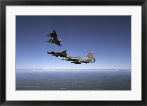 Framed Four Saab 37 Viggen fighters breaking up over northern Sweden Print