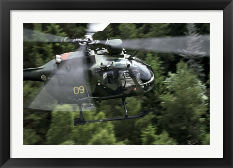 Framed MBB Bo 105 helicopter of the Swedish Air Force Print