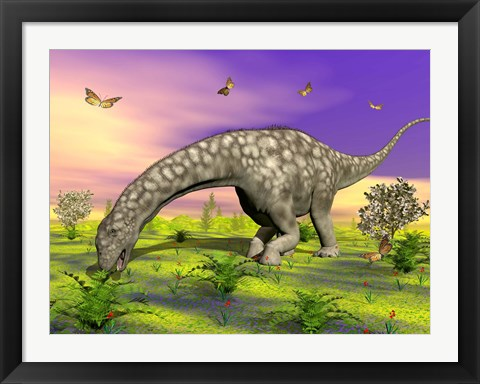 Framed Argentinosaurus eating plants while surrounded by butterflies and flowers Print