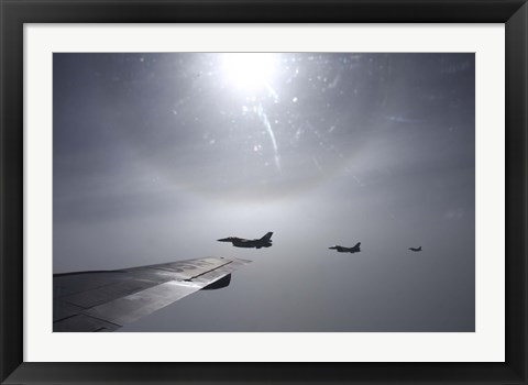 Framed F-16 Fighting Falcon fighters over the wing of a KC-135 Stratotanker Print
