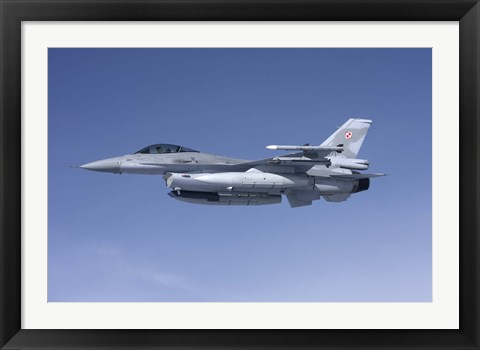 Framed F-16 Fighting Falcon of the Polish Air Force Print