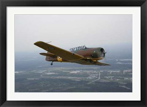Framed North American Aviation T-6 Texan trainer warbird in Norwegian Air Force colors Print