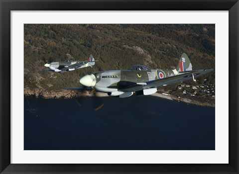Framed Two Supermarine Spitfire fighter warbirds Print
