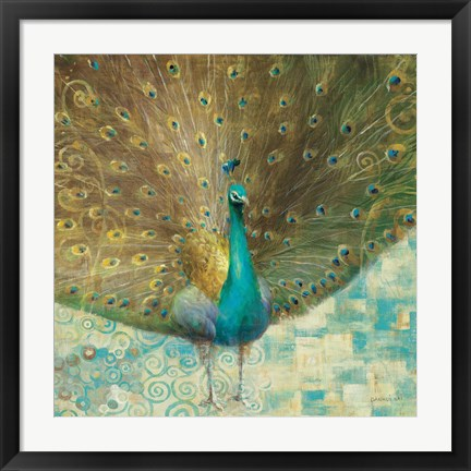 Framed Teal Peacock on Gold Print