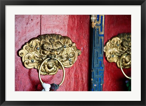 Framed Dragon Head Door Grip, Likir, Ladakh, India Print