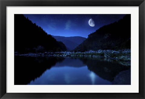Framed Moon rising over tranquil lake and forest against starry sky, Bulgaria Print