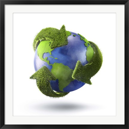 Framed 3D Rendering of planet Earth surrounded by grassy recycle symbol Print