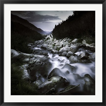 Framed Small river flowing over large stones in the mountains of Pirin National Park, Bulgaria Print