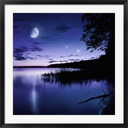 Framed Tranquil lake against starry sky, moon and falling meteorites, Russia Print