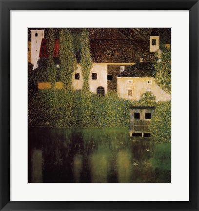 Framed Unterach Manor and Lock Chamber on the Attersee Lake, c.1908 Print