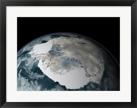 Framed Satellite View of Earth Showing Frozen Continent of Antarctica Print