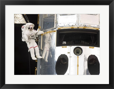 Framed Astronaut performs work on the Hubble Space Telescope Print