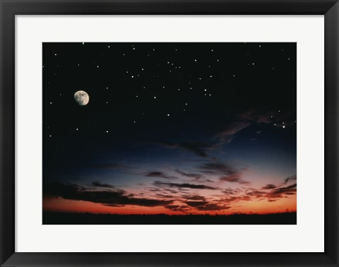 Framed Moon and stars in the sky at dusk Print
