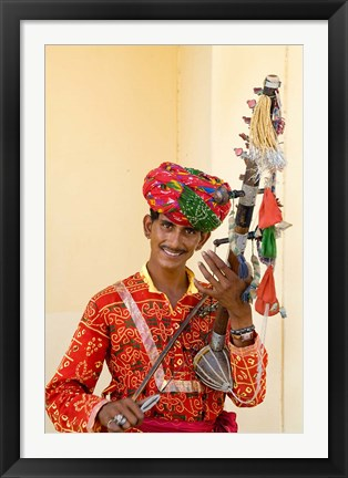 Framed Young Man in Playing Old Fashioned Instrument Called a Sarangi, Agra, India Print