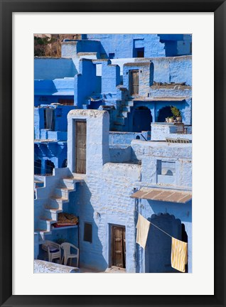 Framed Traditional blue painted house, Jodphur, Rajasthan, India Print