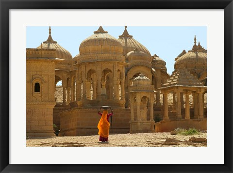 Framed Bada Bagh with Royal Chartist and Finely Carved Ceilings, Jaisalmer, Rajasthan, India Print
