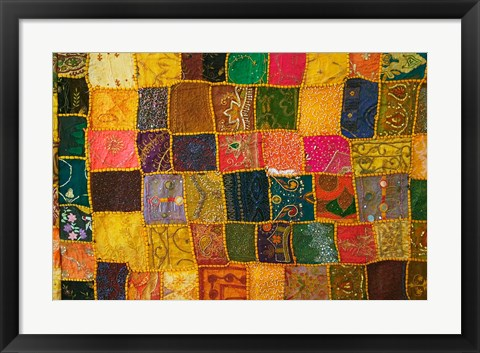 Framed Colorful Carpet, Pushkar, Rajasthan, India Print