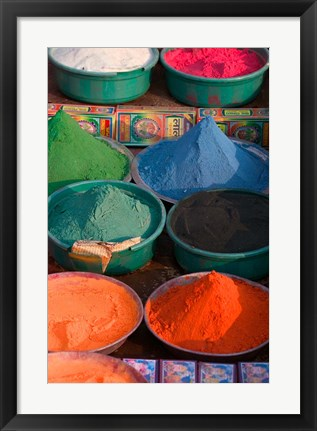 Framed Selling Holy Color Powder at the Market, Puri, Orissa, India Print