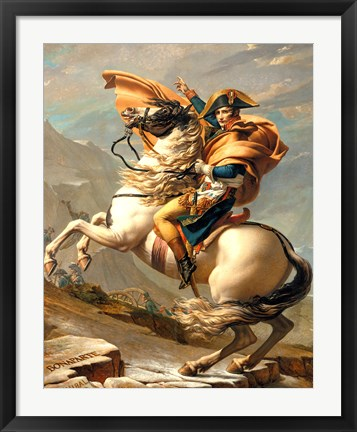 Framed Napoleon Crossing the Alps at the St Bernard Pass Print