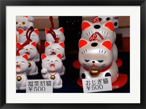 Framed Display of Lucky Cats, Japanese Cultural Icon for Good Fortune, Akasaka, Tokyo, Japan Print