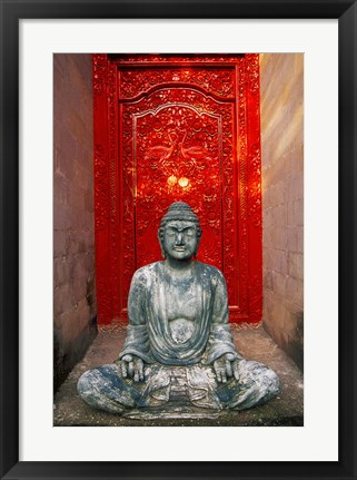 Framed Buddha at Ornate Red Door, Ubud, Bali, Indonesia Print