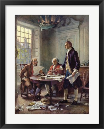 Framed Writing the Declaration of Independence, 1776 Print