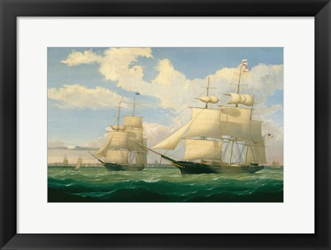 "Framed Ships ""Winged Arrow"" and ""Southern Cross"" in Boston Harbor, 1853 Print"