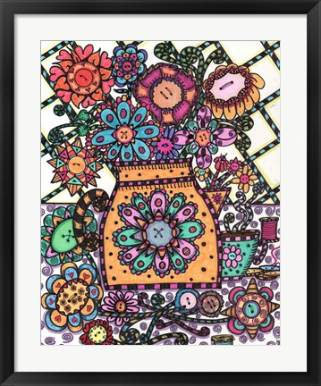 Framed Coffee Pot Button Flowers Print