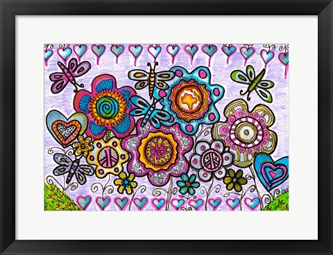Framed Days Of Butterflies and Hearts Print