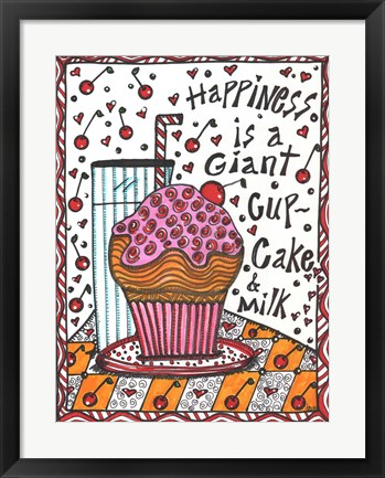 Framed Happiness Is A Giant cupcake Print