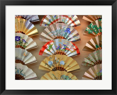 Framed Folding Fan, Kyoto, Japan Print