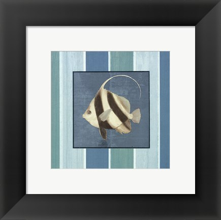 Framed Fish on Stripes I Print